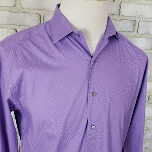 Alfani purple polka dot buttons down shirt M 15